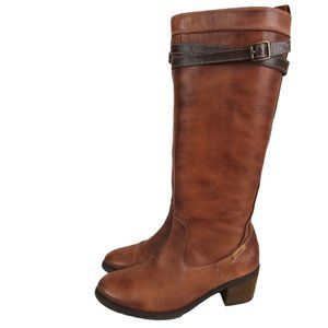 Pikolino Cognac Leather Heeled Riding Boots-N0065